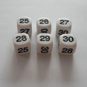 Dobbelsteen 25, 26, 27, 28, 29 en 30