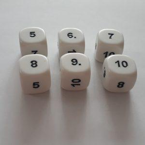 Dobbelteen 5, 6, 7, 8, 9 en 10