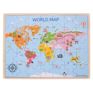 Houten legpuzzel wereldkaart