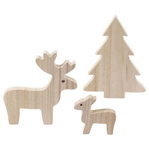 Houten rendieren met kerstboom