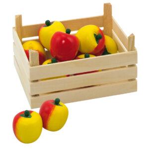 Houten appels in kist