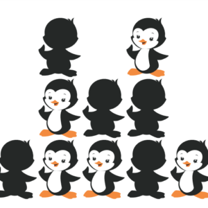 Kaarten houten pinguïns